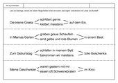 Leseübungsblatt zur Fibel 'Mimi die Lesemaus' Bayern - ab Gg einsetzbar - Sinnvollen Satz heraussuchen