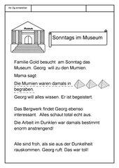 Leseübungsblatt zur Fibel 'Mimi die Lesemaus' Bayern - ab Gg einsetzbar - Museums-Geschichte - kurz