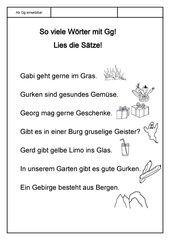 Leseübungsblatt zur Fibel 'Mimi die Lesemaus' Bayern - ab Gg einsetzbar - Sätze mit vielen Gg