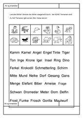 Leseübungsblatt zur Fibel 'Mimi die Lesemaus' Bayern -ab ng einsetzbar - Tiernamen heraussuchen