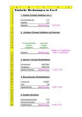 Einfache Rechnungen in Excel