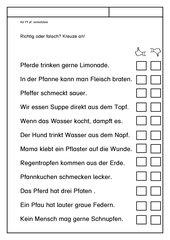 Leseübungsblatt zur Fibel 'Mimi die Lesemaus' Bayern - Ab Pf pf einsetzbar - Richtig oder falsch