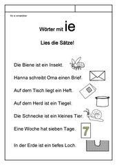 Leseübungsblatt zur Fibel 'Mimi die Lesemaus' Bayern - Ab ie einsetzbar - Sätze mit ie-Wörtern lesen