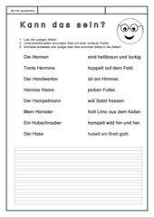 Leseübungsblatt zur Fibel 'Mimi die Lesemaus' Bayern - Ab Hh einsetzbar - sinnvolle Sätze finden