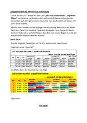 Aufgabenverteilung im Haushalt - Excelübung