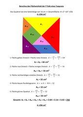 Berechne den Flächeninhalt der 7 Teile eines Tangrams