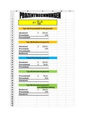 Prozentrechnung + Kalkulationen in Excel