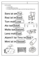 Leseübung zur Fibel 'Mimi die Lesemaus' Bayern, ab Ee einsetzbar - Sätze erlesen