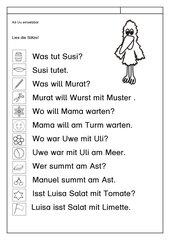 Leseübung zur Fibel 'Mimi die Lesemaus' Bayern, ab Uu einsetzbar - Sätze erlesen
