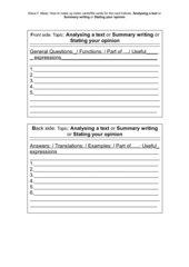 Karteikartenvorlage für Textanalysen, Zusammenfassungen und Meinungsäußerungen