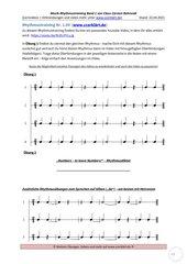 Rhythmustraining – einfach und systematisch - Band 1 Folge 09: Arbeitsblatt + Lösung + Youtubevideo