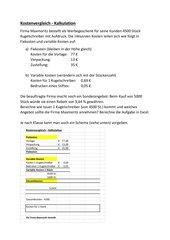 Kostenvergleich - Kalkulation