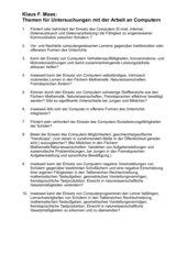 Themen für Untersuchungen mit der Arbeit an Computern