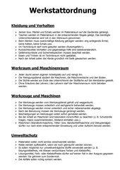 Werkstattordnung Technikunterricht