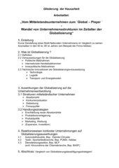 Hausarbeit zum Thema: Globalisierung