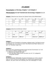 4teachers - Arbeitsblatt zur Volumenberechnung von Zylindern