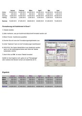 OLE Object linking and embedding / Excel in Word  / 2. Teil und Autoformat