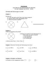 Übungen zur Klassenarbeit: Bruchrechnung, Klasse 6