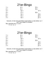 21er-Bingo (Rechnen mit Klammern)