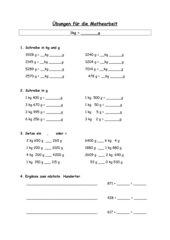 Rechnen mit g und kg (kl3)