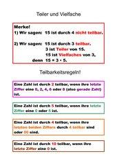 Mathematik Arbeitsmaterialien Teilbarkeit 4teachers De