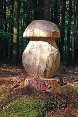 Pilz Skulptur aus Holz - Pilz, Skulptur, schnitzen, Holz, Wald