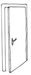 Tür - Wohnung, wohnen, Eingang, Zimmer, Tür, offen, geöffnet, Wandöffnung, Abgrenzung, Raum, Durchgang, Anschlagtür, Anlaut T, Türgriff, Türschloss