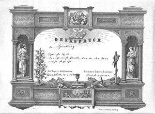 Alte Dokumente 1-  Konfirmationsspruch - Dokument, alt, Konfirmation, Religion, Zeugnis, Geschichte, Sütterlin, Schrift, Spruch