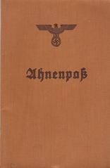 Alte Dokumente 4 - Ahnenpass #1 - Ahnenpass, Dokument, NSdAP, Rasse, Mischlinge, Sippenforschung, völkischer Staat, Hitler, Nationalsozialismus, Nazizeit