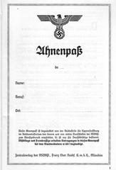 Alte Dokumente 4 - Ahnenpass #2 - Ahnenpass, Dokument, NSdAP, Rasse, Mischlinge, Sippenforschung, völkischer Staat, Hitler, Nationalsozialismus, Nazizeit, Geschichte