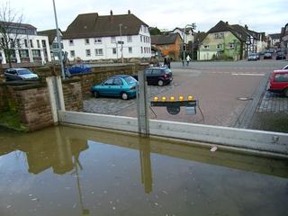 Hochwasser  3 - Hochwasser, Weser, Überschwemmung, Spundwand, Holzminden