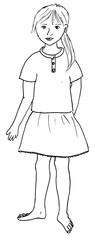 Körperteile ( Mädchen) - Mädchen, Körperteile, Illustration, Haare, Auge, Nase, Mund, Hals, Arm, Hand, Finger, Bein, Fuß, Zehe, Kleid, Kleidung, Kind