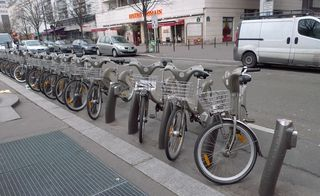 Fahrräder in Paris - 'vélib' - Paris, civilisation, Fahrrad, 'vélib', Transportmittel, vélo libre, vélo liberté
