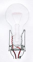 Glühlampenfassung Querschnitt - Fassung, Glühbirne, Glühlampe, Lichtquelle, elektrischer Leiter, Schraubsockel, Glühwendel, thermische Strahlung, Wärmeleitung, Elektrizität, Strom, Stromkreis, Physik, Querschnitt
