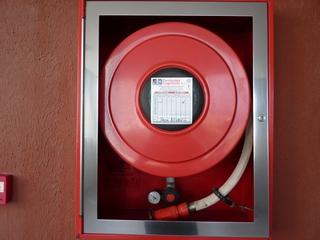 Wandhydrant - Wandhydrant, Wasserentnahmestelle, Brandbekämpfung, Feuer, Quader, Zylinder