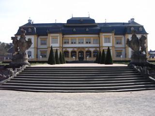 Schloss Veitshöchheim - Schloss, Veitshöchheim, Sommerresidenz, Fürstbischöfe von Würzburg, Schlosstreppe, Symmetrie