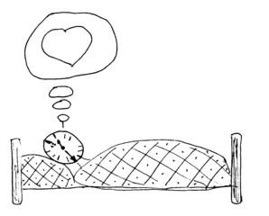 Herr Ticktack - träumen von, verliebt sein in, schlafen, Bett