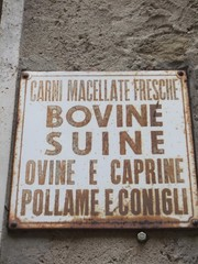 Ladenschild - Italien - Schild, Ladenschild, Metzgerei, Italien, italienisch