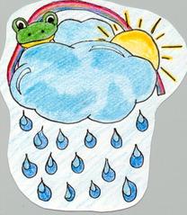Wolkenfrosch - Wetter, Wetterfrosch, Wolke Regen, Sonne, Regenbogen