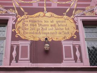 Klapperstein am Rathaus von Mulhouse (Elsaß) - Mulhouse, Mülhausen, Elsaß, Alsace, Klapperstein, pierre des bavards, Rathaus, hôtel de ville