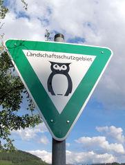 Granetalsperre #8 - Landschaftsschutzgebiet, Naturschutz, Schild, Hinweisschild, Ökologie, Eule, Symbol