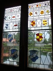 Fenster_Bleiverglasung - Architektur, Fenster, Bleiverglasung, Schloss Mespelbrunn, Wappen