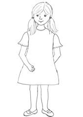 Mädchen - Mädchen, Körperteile, Illustration, Haare, Auge, Nase, Mund, Hals, Arm, Hand, Finger, Bein, Fuß, Kleid, Kleidung, Schuhe, Kind, Zöpfe, Kopf, Wörter mit ä