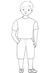 Junge - Junge, Körperteile, Illustration, Haare, Auge, Nase, Mund, Hals, Arm, Hand, Finger, Bein, Fuß, Kleidung, Hose, Shirt, Schuhe, Kind, Bub, Anlaut J