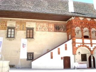 Schallaburg  #4 - Burg, Schloss, Sehenswürdigkeit, Hof, Innenhof, Fresko, Fresken, Wappen, Terracotta, Stiegen, Treppe, Renaissance