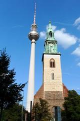 Berlin - Fernsehturm und Marienkirche#1 - Berlin, Fernsehturm, Marienkirche, Hauptstadt