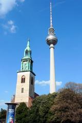 Berlin - Fernsehturm und Marienkirche#2 - Berlin, Fernsehturm, Marienkirche, Hauptstadt