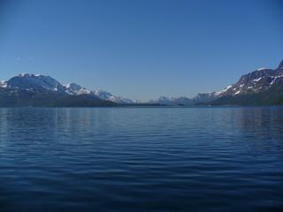 Nordnorwegen - Norwegen, Fjord, Berge, Schnee, Weite, Einsamkeit, Naturwunder, Meditation, Meer, Schreibanlass, blau