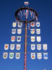 Maibaum #1 - Maibaum, Frühling, Tradition, Handwerk, Krone, Symbole, Bänder, flechten, Stamm, Tourismus, Zunftbaum, Zunftzeichen, Handwerk, Zünfte