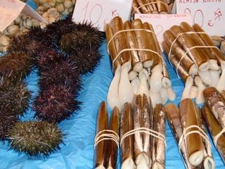Schwertmuschel und Igelfisch - navajas y erizos del mar - navajas, erizo del mar, mercado, mariscos, marisquería, Schwertmuschel, Igelfisch, Markt